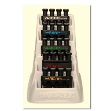 CANDO VARIGRIP HAND EXERCISER (SET OF 5) WITH PLASTIC RACK - WEIGHT: 3.0 LBS