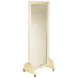 GLASS MIRROR, MOBILE CASTER BASE, 28 X 75 INCH VERTICAL