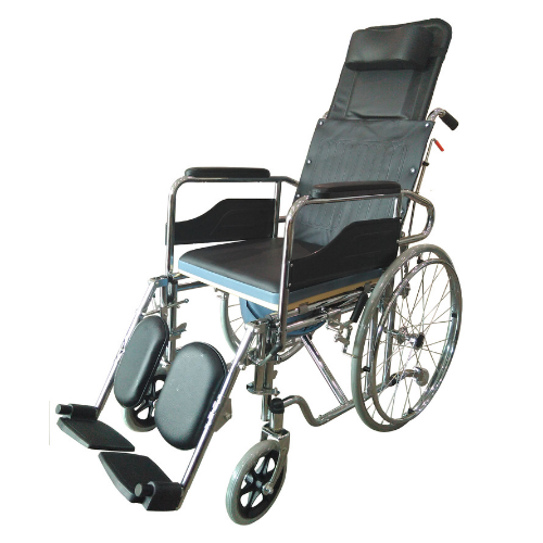 SM STEEL FOLDING RECLINING WHEELCHAIR / COMMODE CHAIR