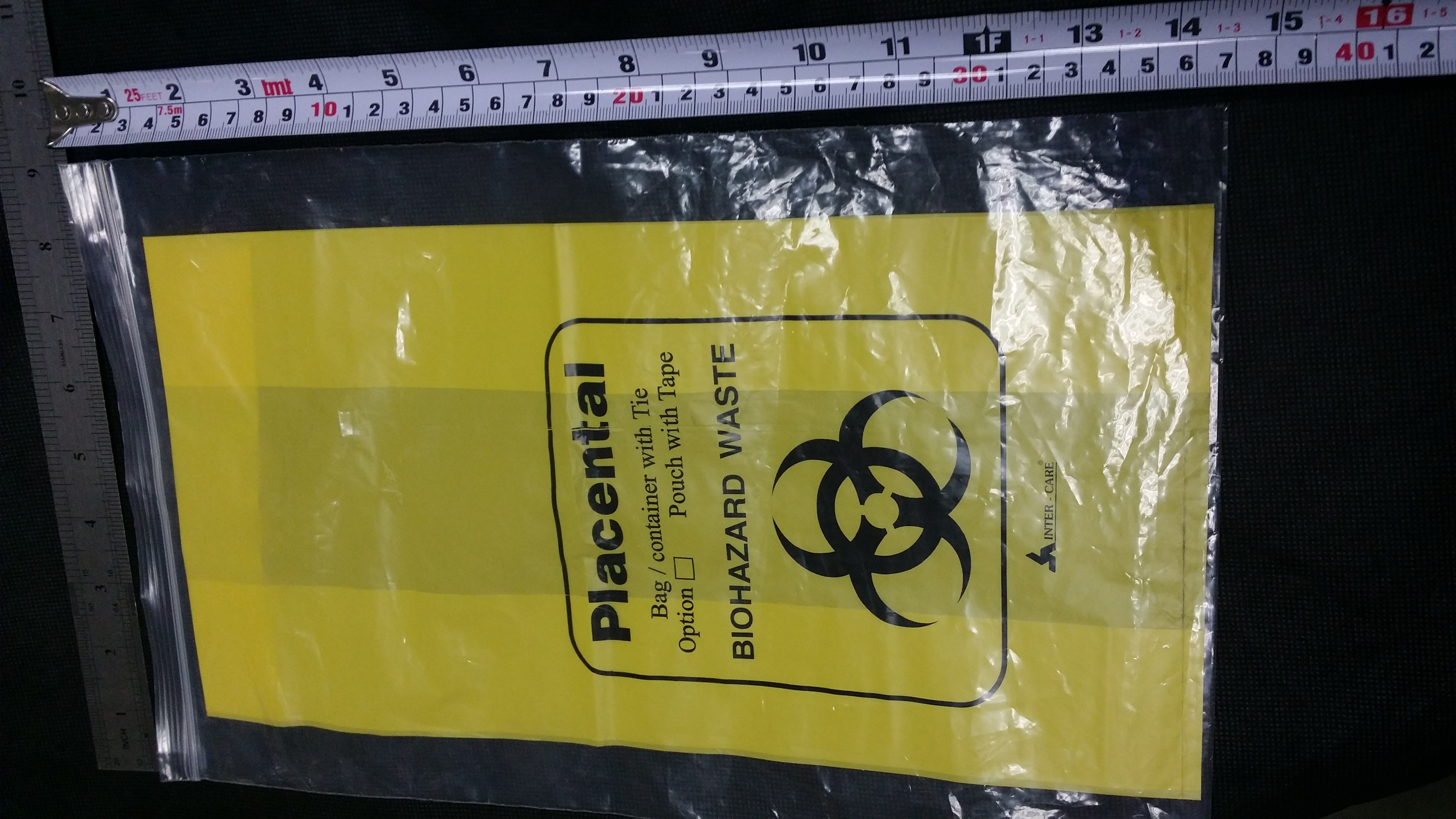 YELLOW PLACENTA BAG WITH TIE (BIOHAZARD)