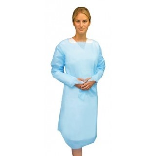 CPE APRON THUMB HOLES SLEEVES - BLUE PLASTIC